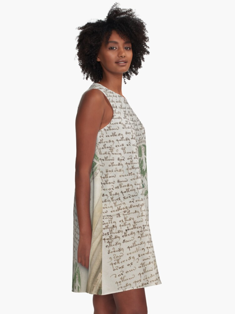 Alternate view of Voynich Manuscript. Illustrated codex hand-written in an unknown writing system A-Line Dress