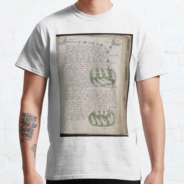 Voynich Manuscript. Illustrated codex hand-written in an unknown writing system Classic T-Shirt