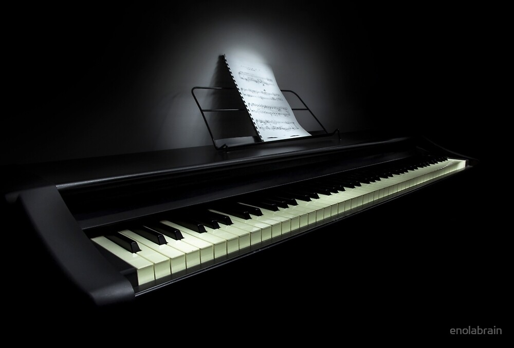 Piano with sheet music by enolabrain