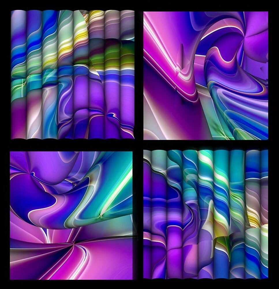 Pink Purple and Teal Color Splash Abstract  Squares Pattern by HavenDesign