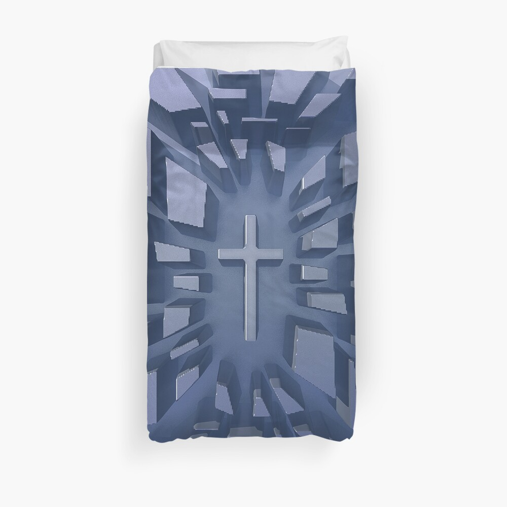 Abstract 3D Christian Cross Duvet Cover