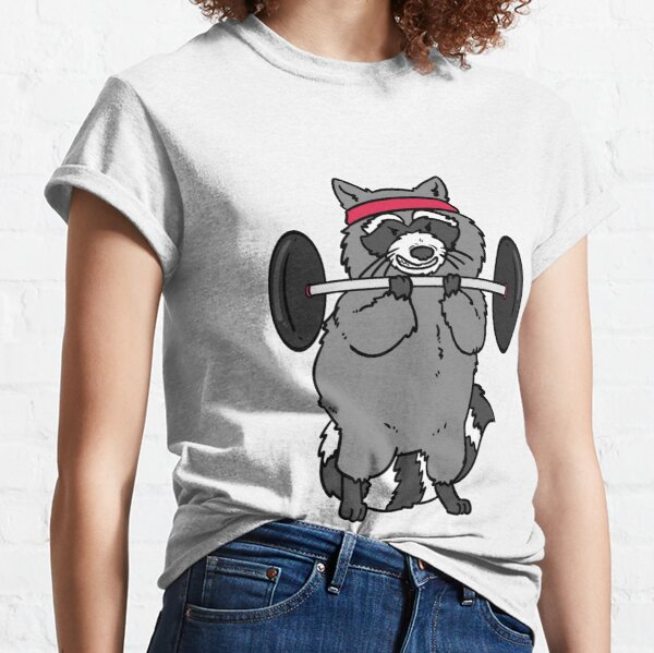 Raccoon with barbell Classic T-Shirt