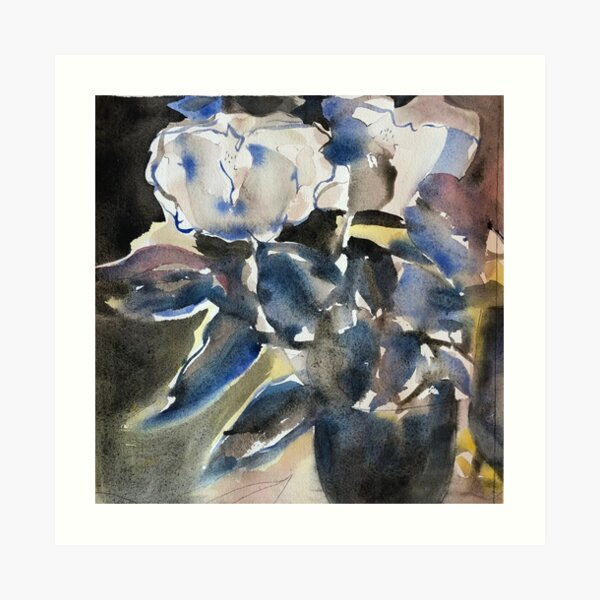 Still Life in blue and black Art Print