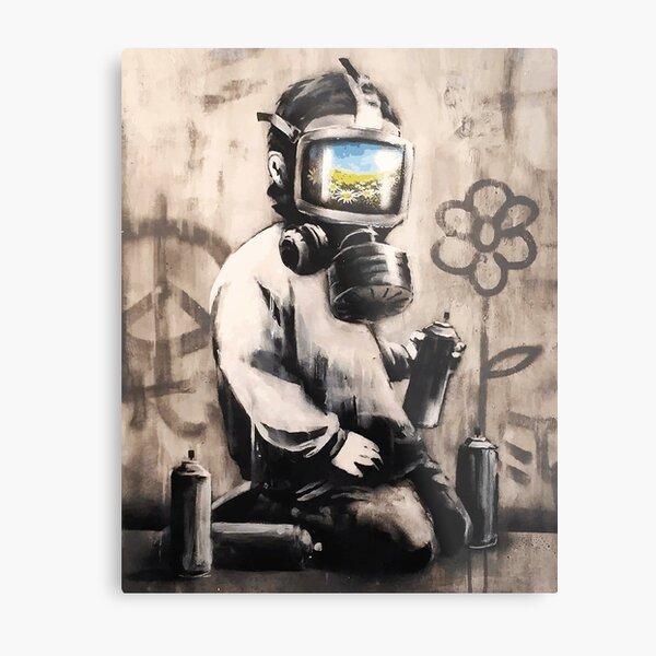 Banksy Gas Mask Boy Metal Print