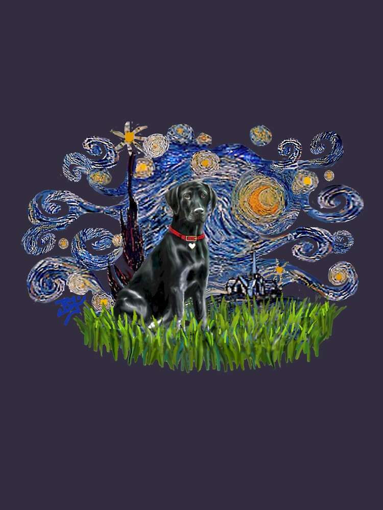 Starry Night Free Form & Black Labrador Retriever by JeanBFitzgerald