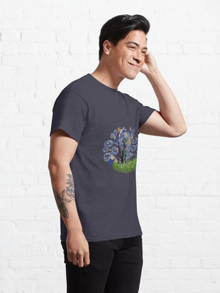 Alternate view of Starry Night Free Form & Black Labrador Retriever Classic T-Shirt