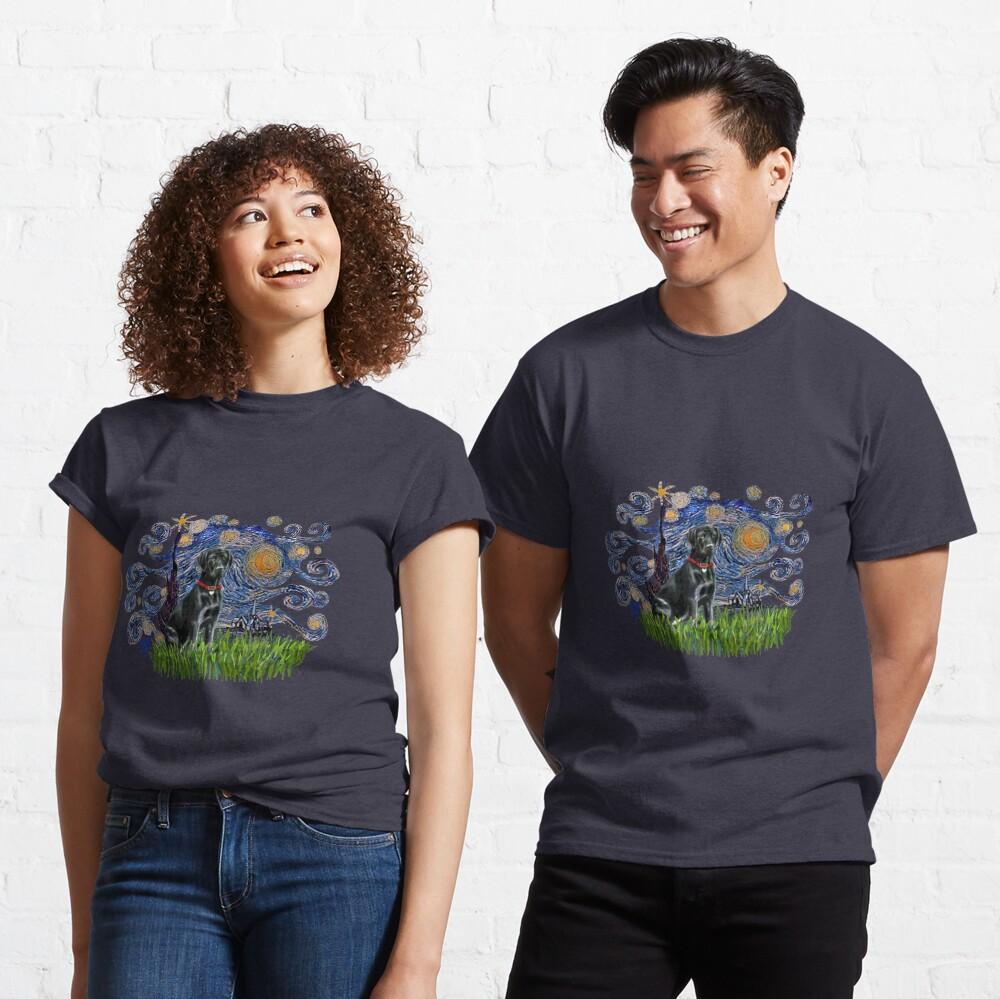 Starry Night Free Form & Black Labrador Retriever Classic T-Shirt