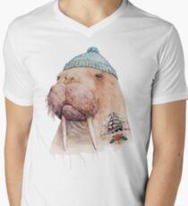 Tätowiertes Walross T-Shirt mit V-Ausschnitt für Männer