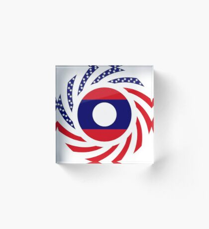 Lao American Multinational Patriot Flag Series Acrylic Block
