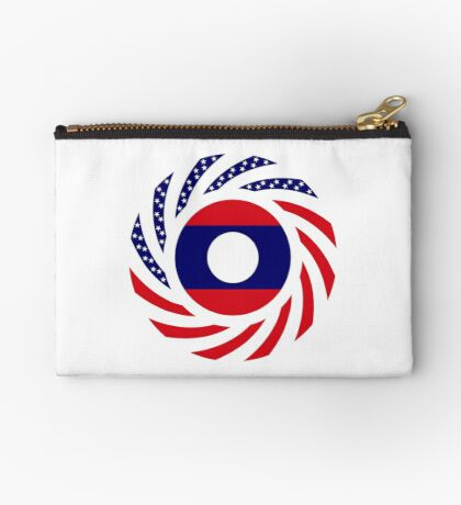 Lao American Multinational Patriot Flag Series Zipper Pouch