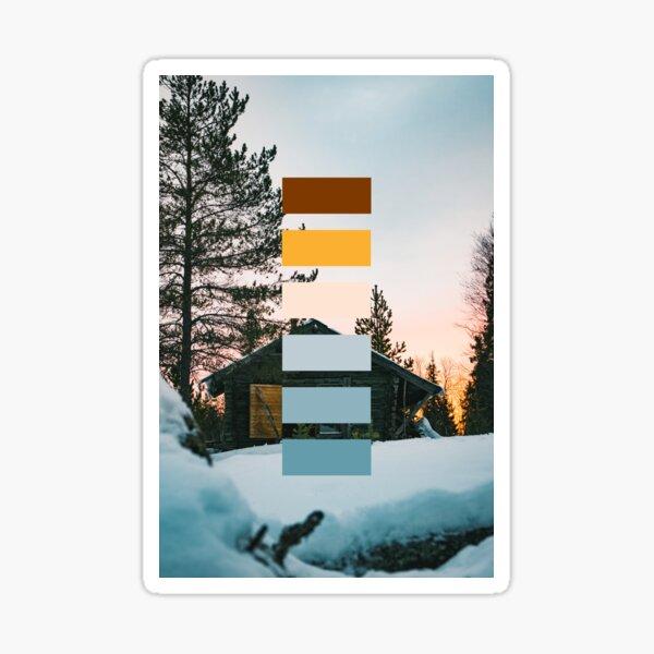 Hut in winter landscape (color palette) Sticker