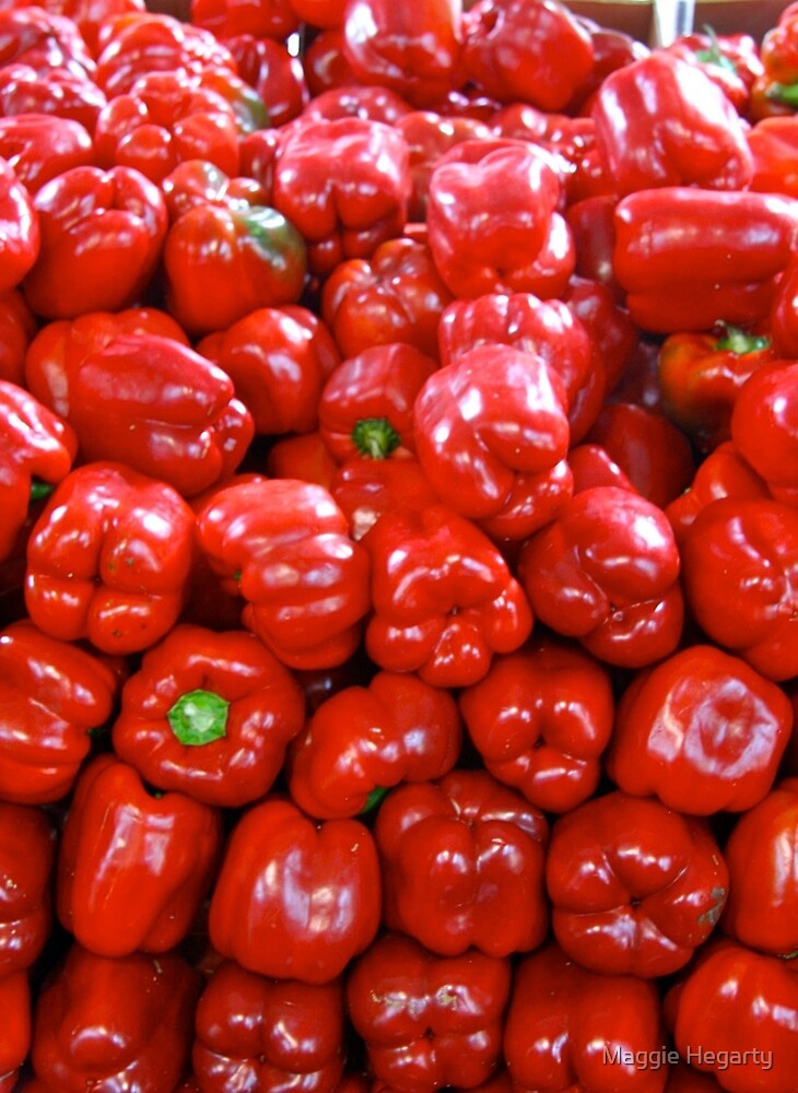 A pile of red peppers by Maggie Hegarty