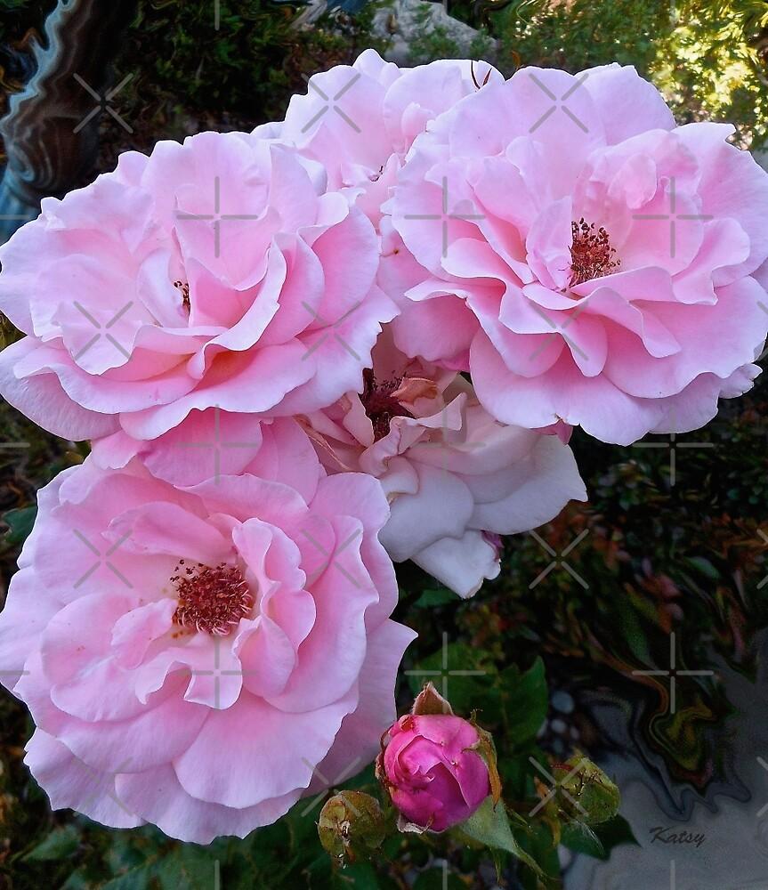 Pink Tea Roses, floral art, wall decor by artbykatsy