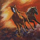 Fire Horses Galloping, acrylic painting from a fire by Naquaiya