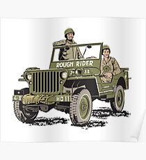 D-DAY, Rough Rider Jeep & General 'Ted' Roosevelt  Poster