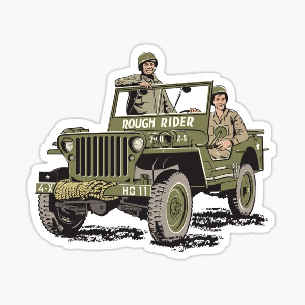 D-DAY, Rough Rider 'GP' and General Ted Roosevelt  Sticker