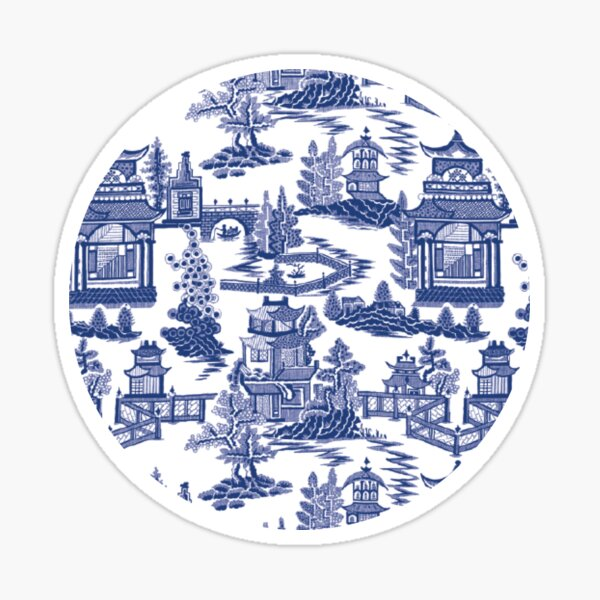 Blue Willow Ancient Ming China - Blue And White Chinoiserie  Sticker