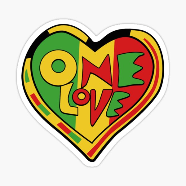 One Love Rasta Heart Pegatina