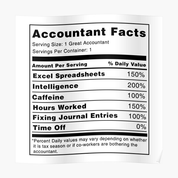 Accountant Nutrition Facts Poster