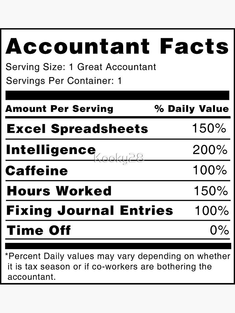 Accountant Nutrition Facts by Kooky28