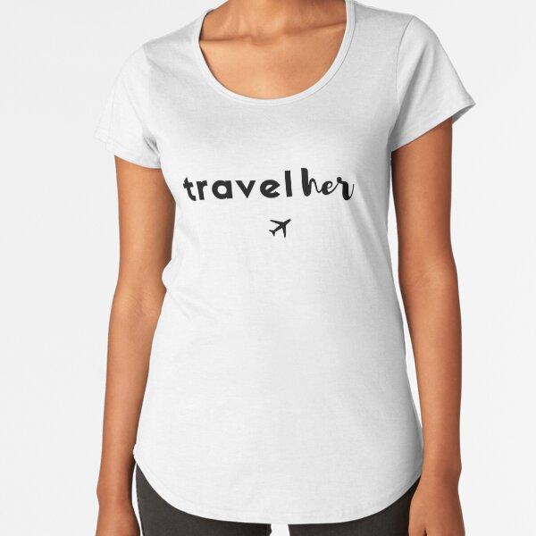 TravelHer Black & White Premium Scoop T-Shirt