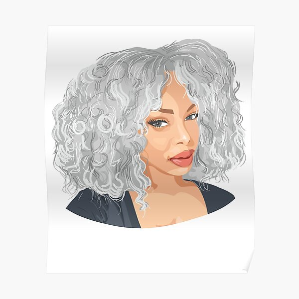 Black Woman Beautiful in Grey Poster