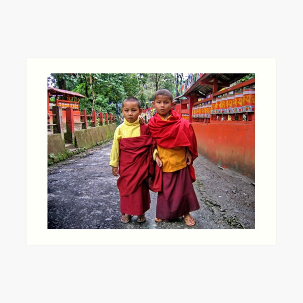 young monks. sikkim, india Art Print