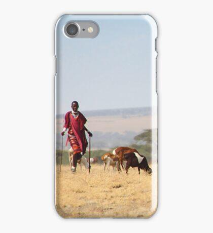 Maasai (or Masai) Herder with Cattle, Tanzania  iPhone Case/Skin