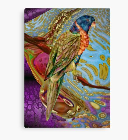 Scarlett Parakeet: inspired by the bird drawings of Edward Lear Canvas Print