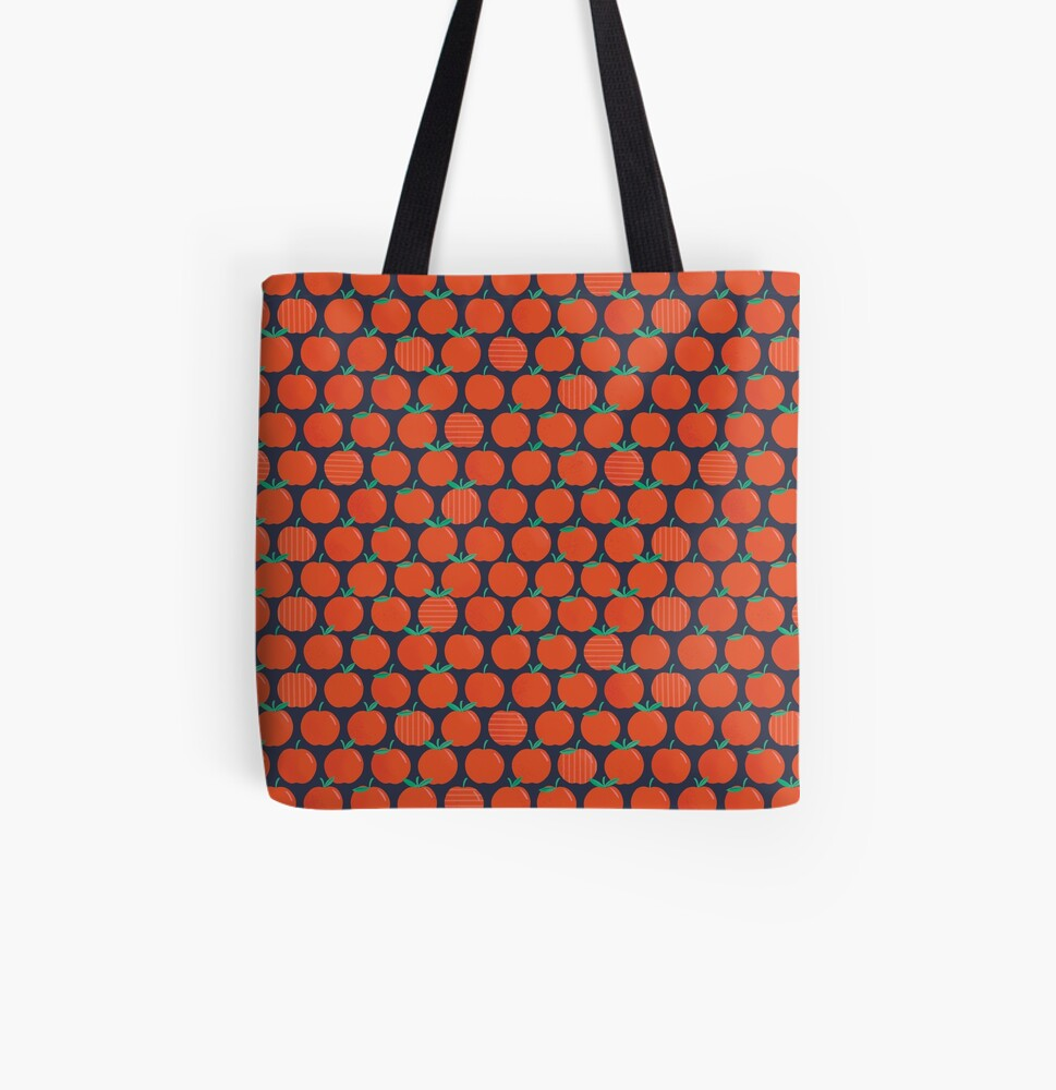 Apple Pattern All Over Print Tote Bag