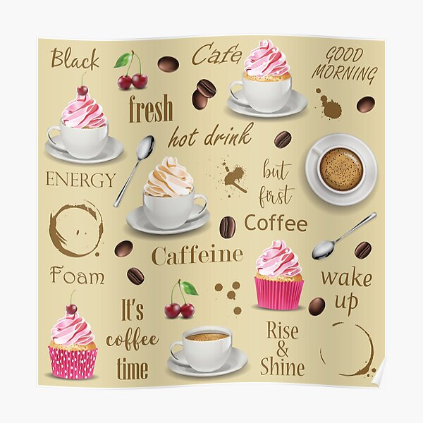 Coffee and cupcakes brown  pattern Poster