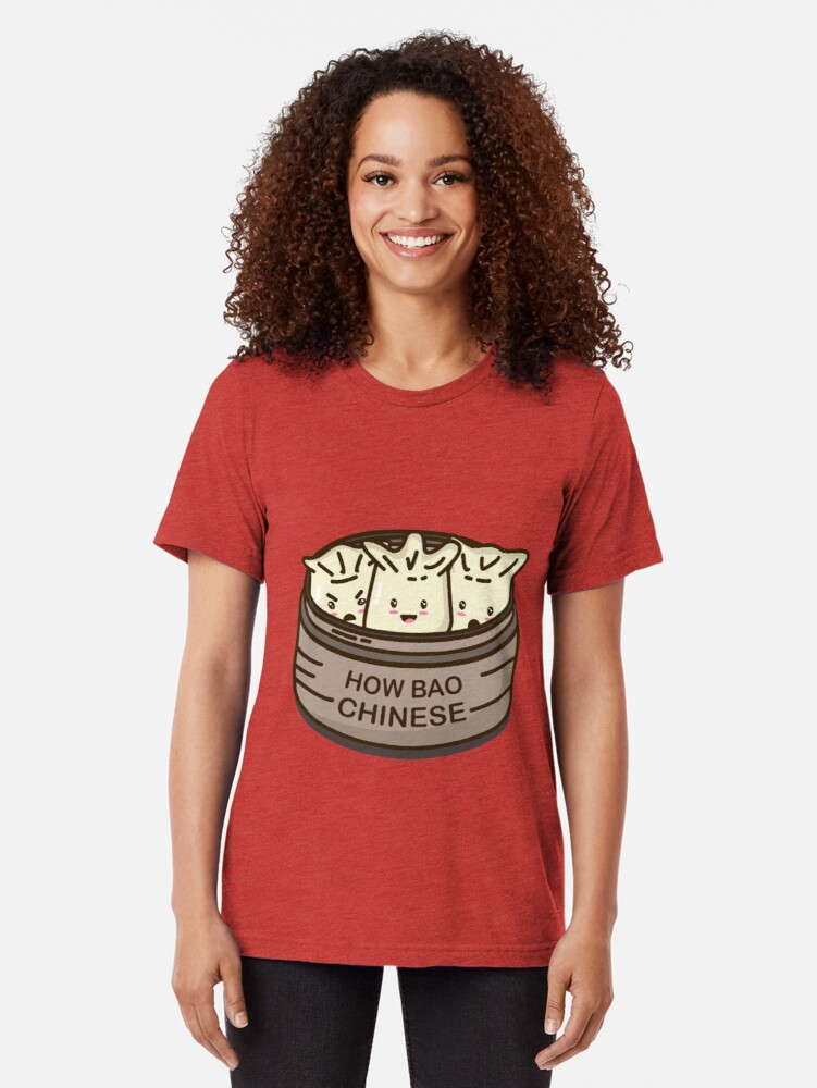 Alternate view of How Bao Chinese? Tri-blend T-Shirt