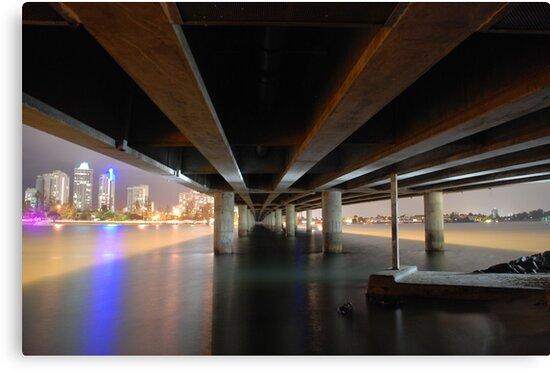 Under the Gold Coast bridge at night by Graham Mewburn