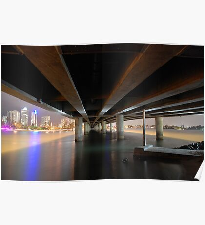 Under the Gold Coast bridge at night Poster
