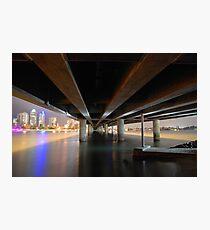 Under the Gold Coast bridge at night Photographic Print