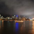 Swing Moorings on Nerang River at Night by Graham Mewburn