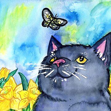 Cat With Daffodils by missmann