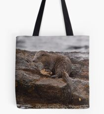 Otter with crab Tote Bag