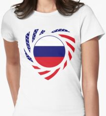 Russian American Multinational Patriot Flag Series 2.0 Women's Fitted T-Shirt