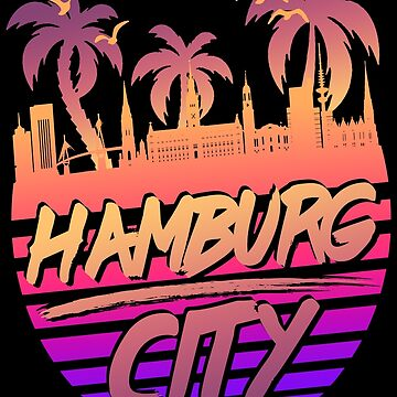 Hamburg City Skyline Retro Vintage 80s by Manqoo