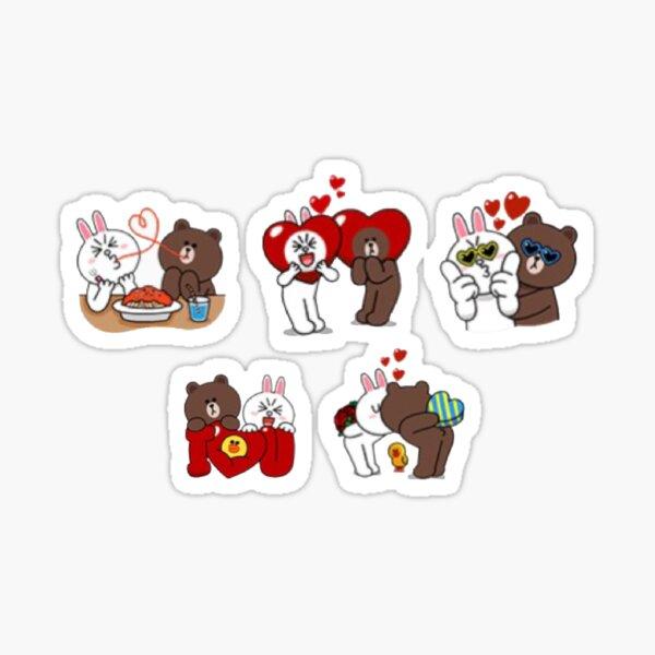 Conjunto de pegatinas cony valentine marrón Pegatina