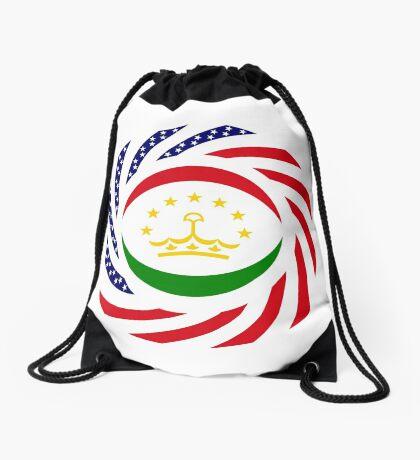 Tajik American Multinational Patriot Flag Series Drawstring Bag