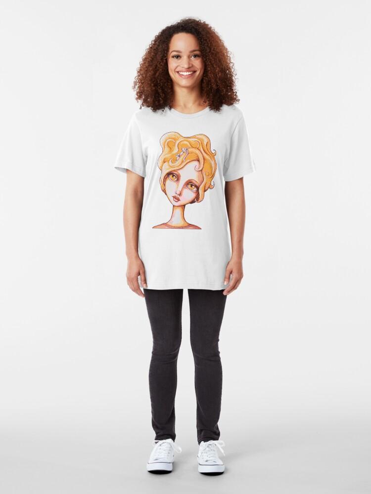 Alternate view of Bunny Bouffant (Orange Version) Slim Fit T-Shirt