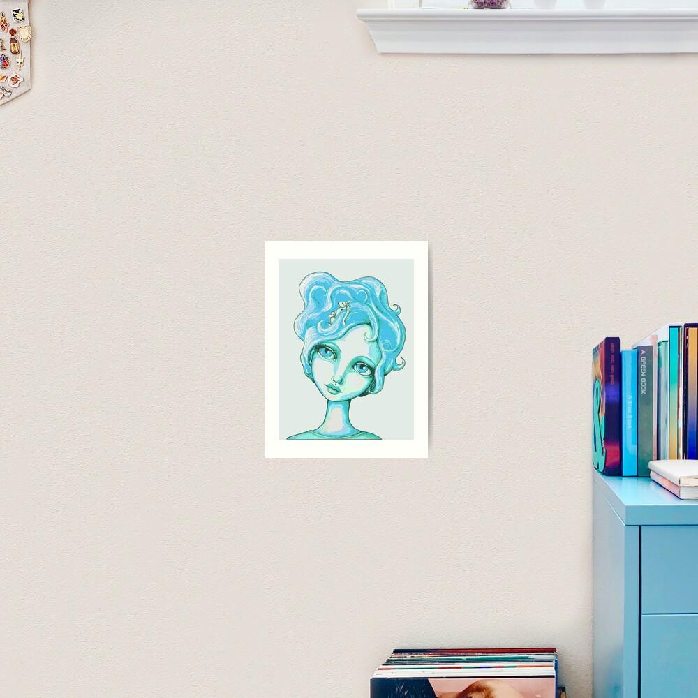 Bunny Bouffant (Cyan Version) Art Print