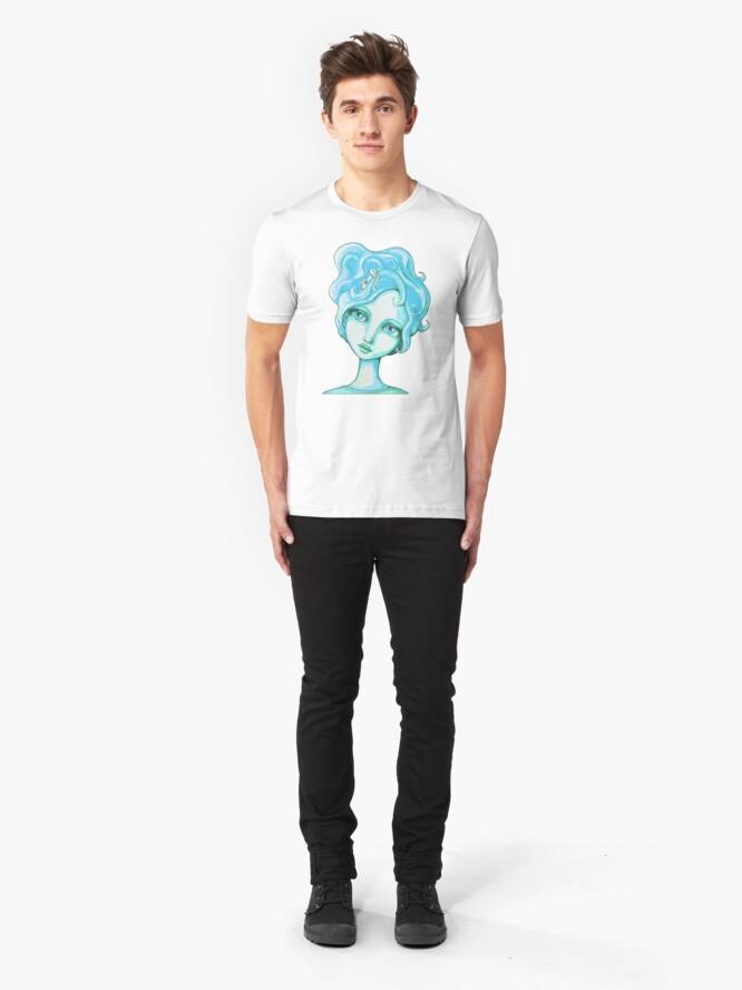 Alternate view of Bunny Bouffant (Cyan Version) Slim Fit T-Shirt