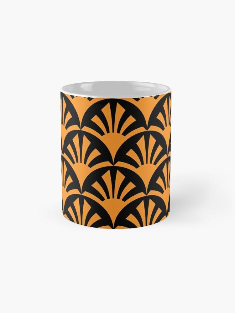 Alternate view of Geometric Pattern: Deco Sunset: Orange/Black Mug