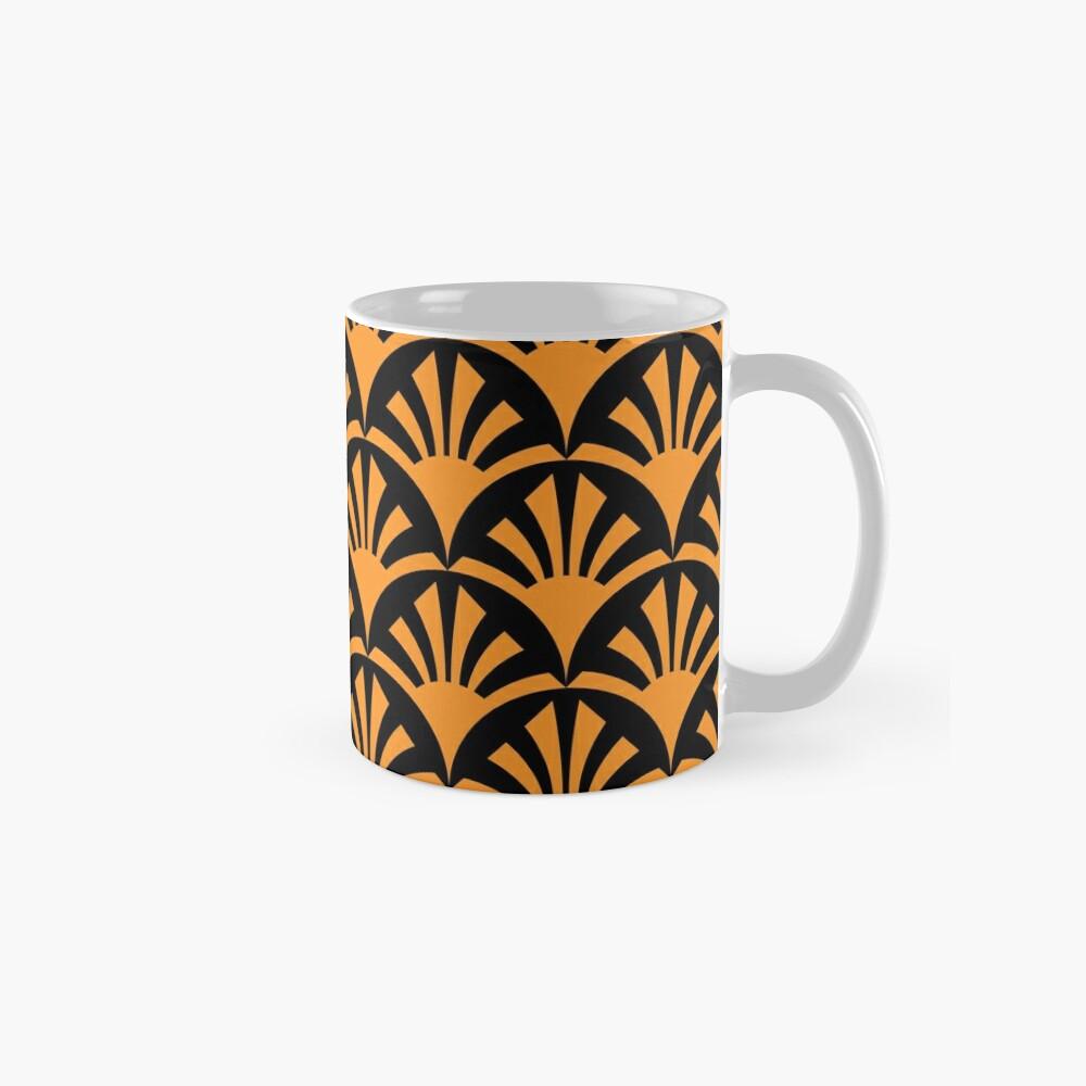 Geometric Pattern: Deco Sunset: Orange/Black Mug