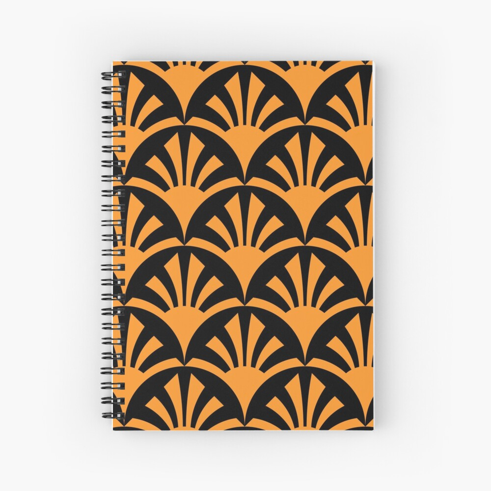 Geometric Pattern: Deco Sunset: Orange/Black Spiral Notebook