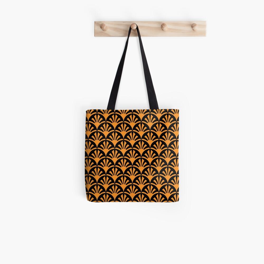 Geometric Pattern: Deco Sunset: Orange/Black Tote Bag