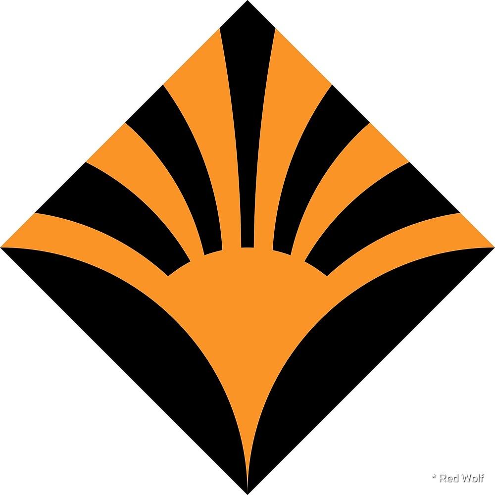 Geometric Pattern: Deco Sunset: Orange/Black by * Red Wolf